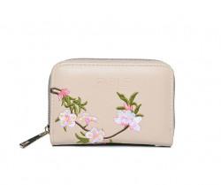 FABLE peňaženka vyšívaná kvetmi - krémová