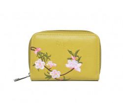 FABLE peňaženka vyšívaná kvetmi - olivovozelená