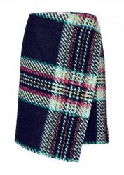 Farebná károvaná sukňa, tmavomodrá