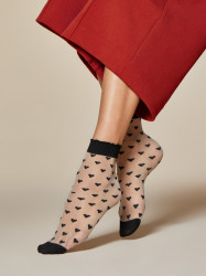 FIORE silonkové ponožky so srdiečkami JEUNET, pudrova