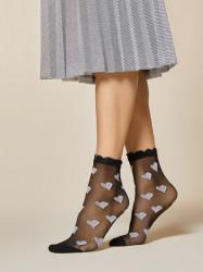 FIORE silonkové ponožky so srdiečkami, LULLABY