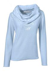 Flitrovaný pulóver so šálom, modrá