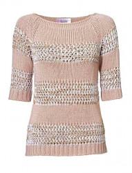 Háčkovaný sveter, ružový