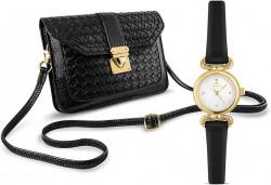 Hodinky + kabelka Temptation, čierno-zlatá #3