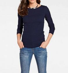 Hodvábny úpletový sveter Heine, modrá