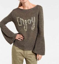 Hrubo pletený sveter, olivovo-zlatý