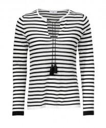 Jemný pletený pulóver čierno-biely pásik