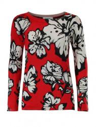Jemný pletený sveter s kvetinovou potlačou Heine, červeno-biela