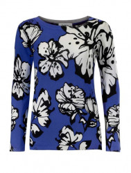 Jemný pletený sveter s kvetinovou potlačou Heine, modro-biela