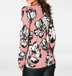Jemný pletený sveter s kvetinovou potlačou Heine, ružovo-biela