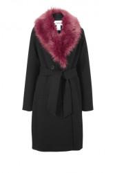 Kabát s kožušinovým golierom Heine, čierny