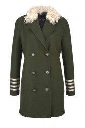 Kabát v uniformovom štýle, khaki