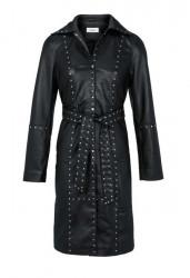 Kabát z mäkkej jahňacej kože a nitmi, čierna