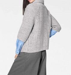 Kardigán s veľkým pletením, sivý #3