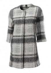 Károvaný flaušový kabát, sivá