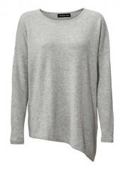 Kašmírový asymetrický pulóver, sivá- melanž