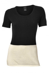 Kašmírový pulóver, čierno - kremový
