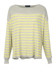 Kašmírový pulóver s pásikmi, sivo-žltá