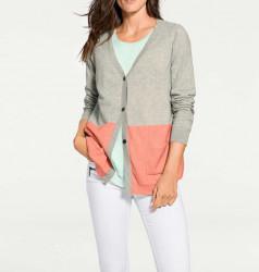 Kašmírový sveter PATRIZIA DINI, sivo-marhuľový