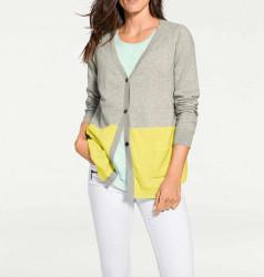 Kašmírový sveter PATRIZIA DINI, sivo-žltý