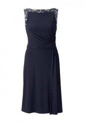 Koktejlové šaty s perlovou výšivkou Heine, polnočná modrá