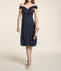 Korzetové šifónové čipkované šaty Heine, polnočná modrá