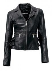 Kožená bunda nappa, čierna