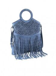 Kožená kabelka so strapcami Heine, rifľovo-modrá