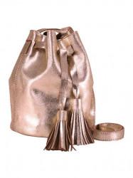 Kožená kabelka so strapcami Heine, ružovo-zlatej farby