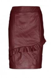 Kožená nappa sukňa Ashley Brooke, bordová