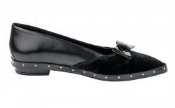Kožené baleríny so žiarivým zamatom, čierna #2