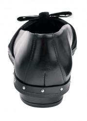 Kožené baleríny so žiarivým zamatom, čierna #5