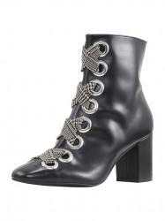 Kožené členkové topánky HEINE so šnurovaním, čierna