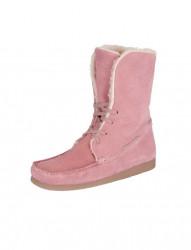 Kožené členkové topánky s umelou kožušinou Heine, ružová
