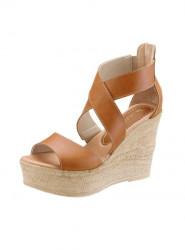 Kožené klinové sandále Laura Scott, hnedé