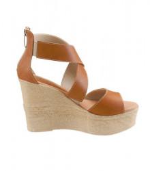 Kožené klinové sandále Laura Scott, hnedé #1