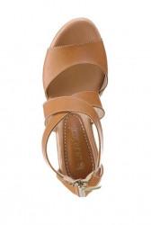 Kožené klinové sandále Laura Scott, hnedé #2