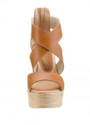 Kožené klinové sandále Laura Scott, hnedé #3
