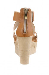 Kožené klinové sandále Laura Scott, hnedé #4