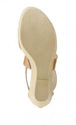 Kožené klinové sandále Laura Scott, hnedé #5