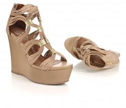 Kožené klinové sandálky JEFFREY CAMPBELL, béžová