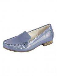 Kožené lakované topánky Gabor, modro-sivá