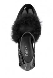 Kožené lakované topánky s kožušinou, čierne #3