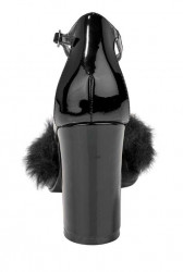Kožené lakované topánky s kožušinou, čierne #5