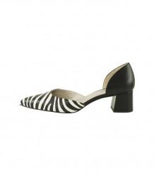 Kožené lodičky nappa so zebrovým vzorom Heine, čierno-biela #1
