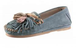Kožené mokasíny so strapcami modré