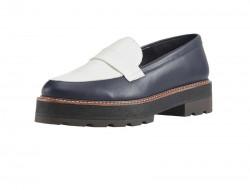 Kožené nappa topánky Heine, modro-biela