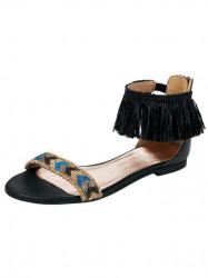 Kožené sandále s korálkami Heine, čierne