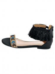 Kožené sandále s korálkami Heine, čierne #1
