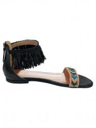 Kožené sandále s korálkami Heine, čierne #2